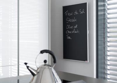 Infrapanel topná tabule Wellina alu rám - infratopení v koderní kuchyni v RD